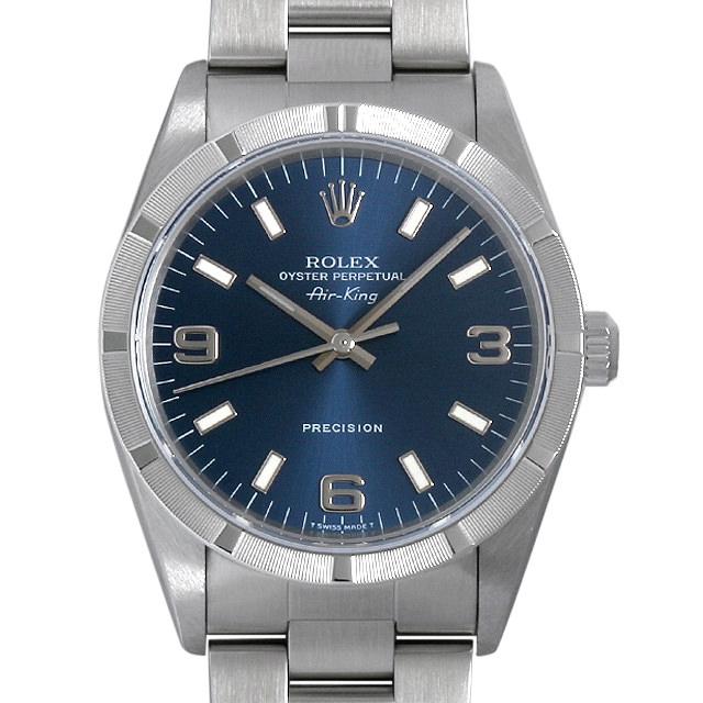 【48回払いまで無金利】ロレックス オイスターパーペチュアル エアキング U番 14010 ブルー メンズ(0HAZROAU0002)【中古】【腕時計】【送料無料】