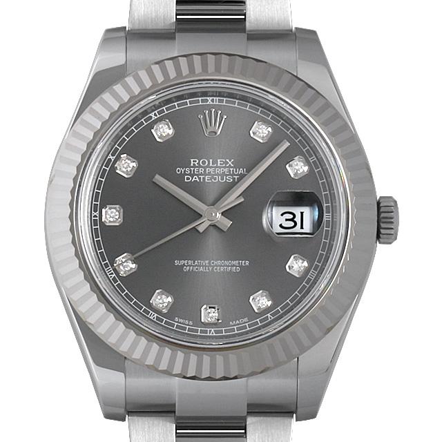 【48回払いまで無金利】ロレックス デイトジャストII 10Pダイヤ ランダムシリアル 116334G ダークロジウム メンズ(007UROAS0008)【中古】【未使用】【腕時計】【送料無料】