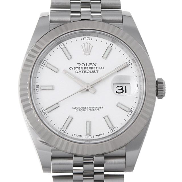 【48回払いまで無金利】ロレックス デイトジャスト41 ランダムシリアル 126334 ホワイト メンズ(0014ROAU0150)【中古】【腕時計】【送料無料】