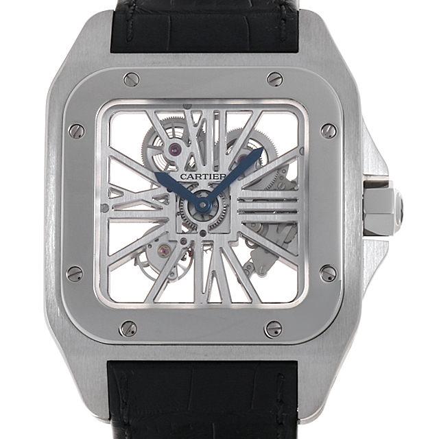 【48回払いまで無金利】カルティエ サントス100 スケルトンウォッチ XL W2020018 メンズ(006TCAAU0009)【中古】【腕時計】【送料無料】
