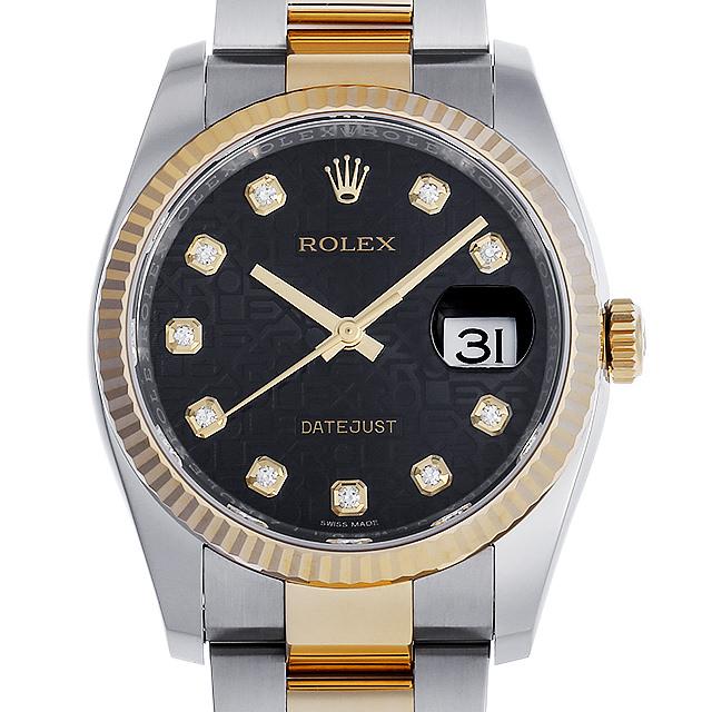 【48回払いまで無金利】ロレックス デイトジャスト 10Pダイヤ ランダムシリアル 116233G ブラック彫りコンピューター メンズ(007UROAU0352)【中古】【腕時計】【送料無料】