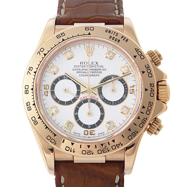 【48回払いまで無金利】ロレックス デイトナ 8Pダイヤ X番 16518G 逆6文字盤/ホワイト メンズ(0DF7ROAU0014)【中古】【腕時計】【送料無料】