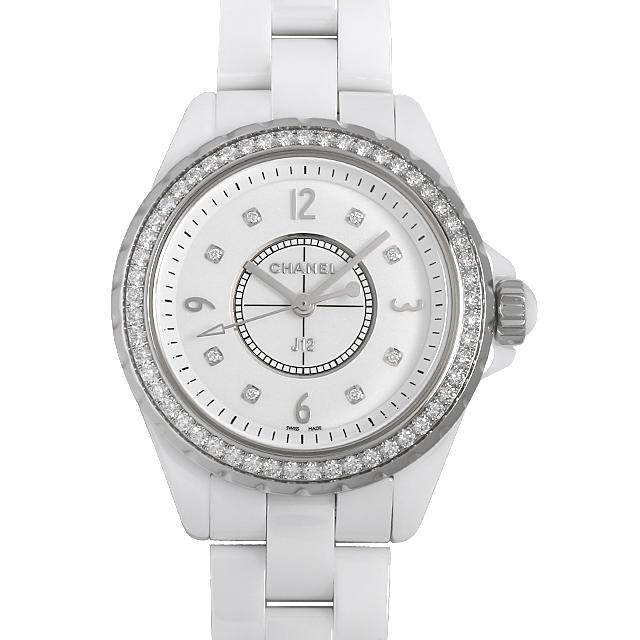 【48回払いまで無金利】シャネル J12 白セラミック 8Pダイヤ ダイヤベゼル H3110 レディース(015PCHAN0033)【新品】【腕時計】【送料無料】