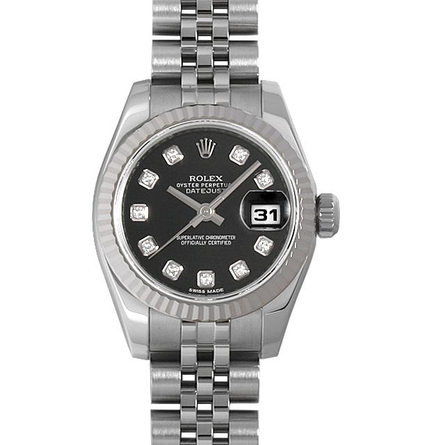 【48回払いまで無金利】ロレックス デイトジャスト 10Pダイヤ ランダムシリアル 179174G ブラック レディース(0063ROAU0229)【中古】【腕時計】【送料無料】