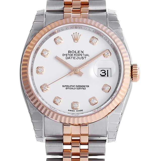SALE ロレックス デイトジャスト 10Pダイヤ ランダムシリアル 116231G ホワイト メンズ(006XROAU0799)【中古】【腕時計】【送料無料】