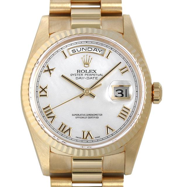 【48回払いまで無金利】ロレックス デイデイト W番 18238NR ホワイトシェル/ローマ メンズ(0389ROAU0002)【中古】【腕時計】【送料無料】