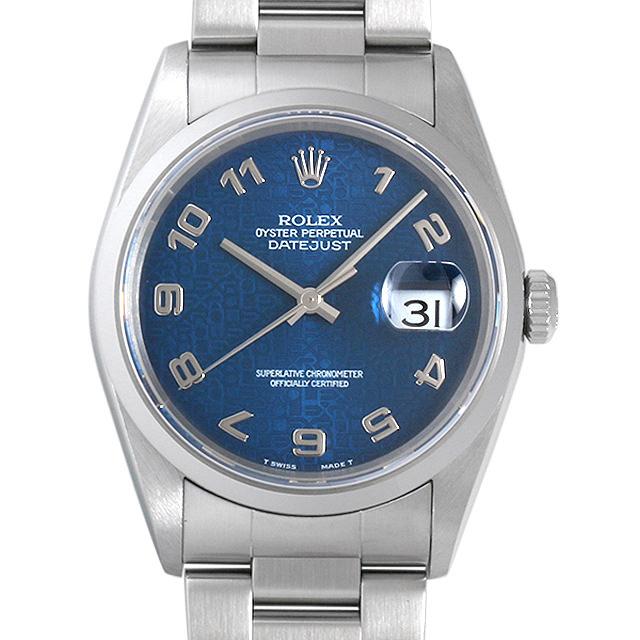 【48回払いまで無金利】ロレックス デイトジャスト P番 16200 ブルー彫りコンピューター/アラビア メンズ(0063ROAU0225)【中古】【腕時計】【送料無料】