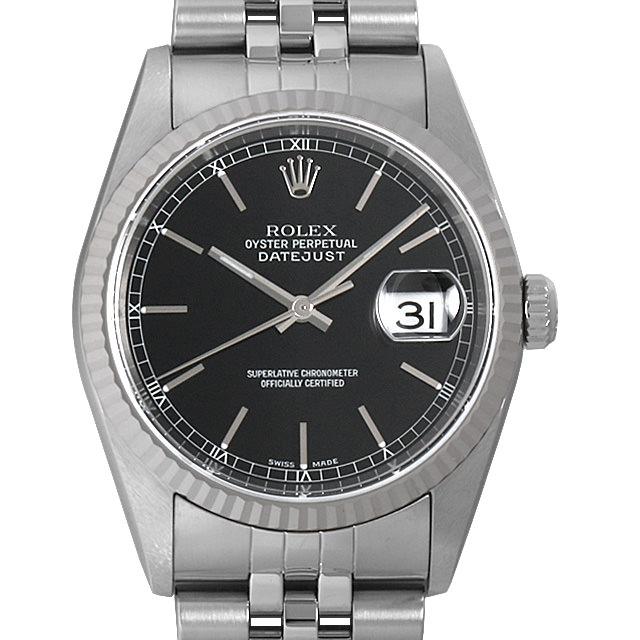 【48回払いまで無金利】ロレックス デイトジャスト K番 16234 ブラック/バー メンズ(006XROAU0876)【中古】【腕時計】【送料無料】