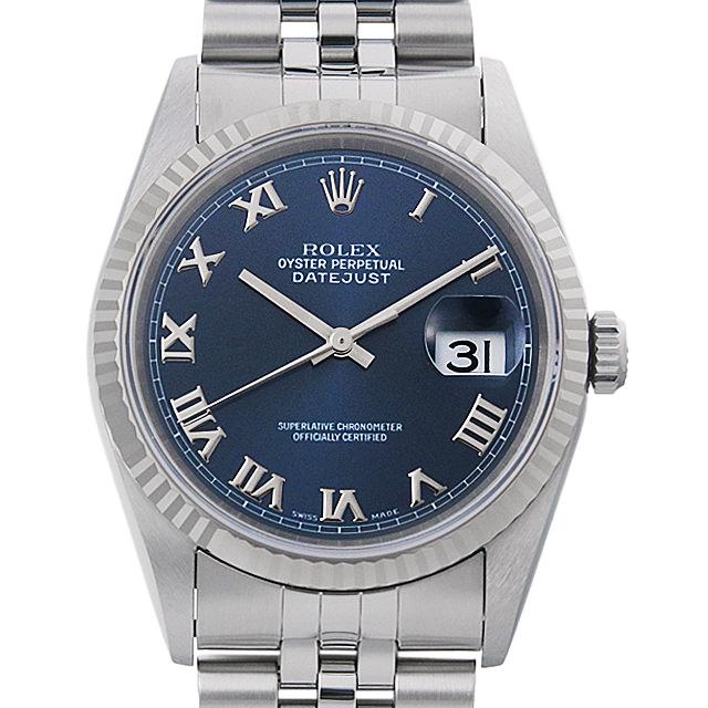 【48回払いまで無金利】ロレックス デイトジャスト U番 16234 ブルー/ローマ メンズ(009VROAU0234)【中古】【腕時計】【送料無料】