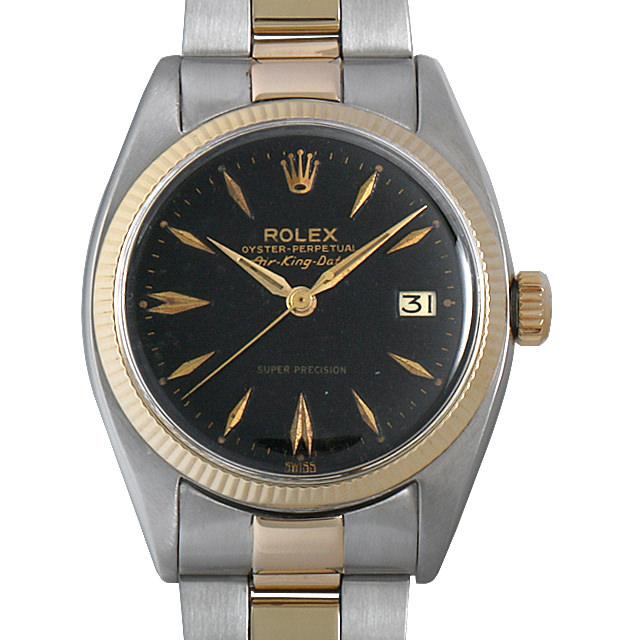 【48回払いまで無金利】ロレックス エアキング デイト Cal.1530 51番 5701 ブラックミラー メンズ(007UROAA0087)【中古】【アンティーク】【腕時計】【送料無料】