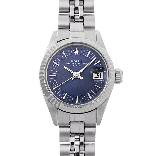 ロレックス オイスターパーペチュアル デイト 28番 6917 ブルー/バー レディース(0087ROAA0019)【アンティーク】【腕時計】【送料無料】