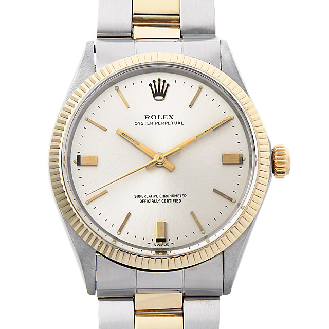 ロレックス オイスターパーペチュアル Cal.1570 23番 1005 シルバー/バー メンズ(007UROAA0094)【アンティーク】【腕時計】【送料無料】