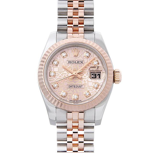 ロレックス デイトジャスト 10Pダイヤ G番 179171G ピンク彫りコンピューター レディース(008WROAU0242)【中古】【腕時計】【送料無料】