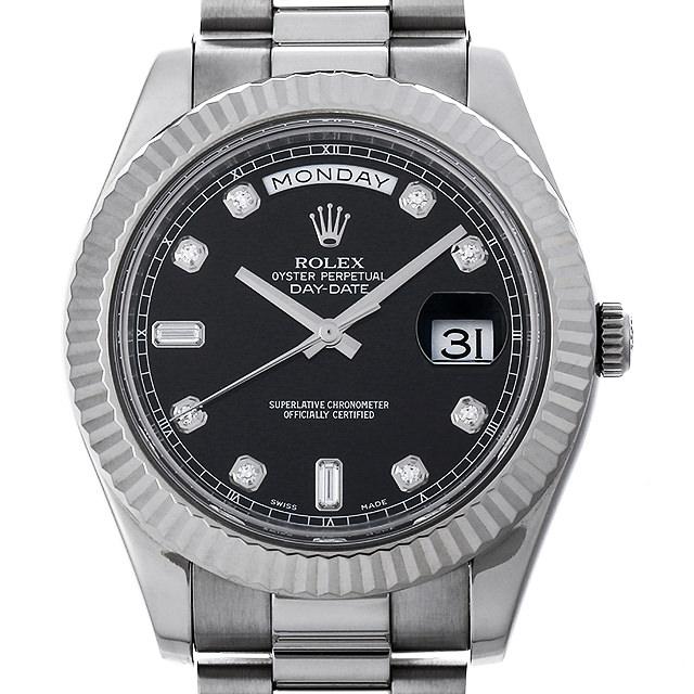 SALE ロレックス デイデイトII ランダムシリアル 218239A 8Pラウンド/2Pバケットダイヤ/ブラック メンズ(0JH9ROAU0001)【中古】【腕時計】【送料無料】