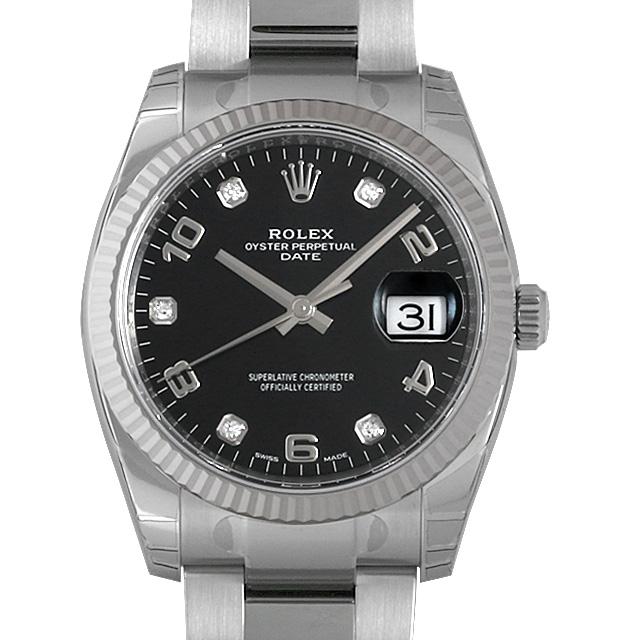 ロレックス オイスターパーペチュアルデイト 5Pダイヤ 115234G ブラック/アラビア メンズ(008WROAN0015)【新品】【腕時計】【送料無料】