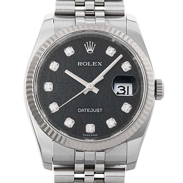 ロレックス デイトジャスト 10Pダイヤ G番 116234G ブラック彫りコンピューター メンズ(006XROAU0916)【中古】【腕時計】【送料無料】