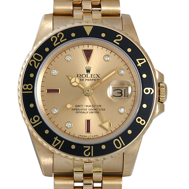 ロレックス GMTマスター 3Pルビー/8Pダイヤ 93番 16758RG シャンパン/5列ブレス メンズ(006XROAU0920)【中古】【腕時計】【送料無料】