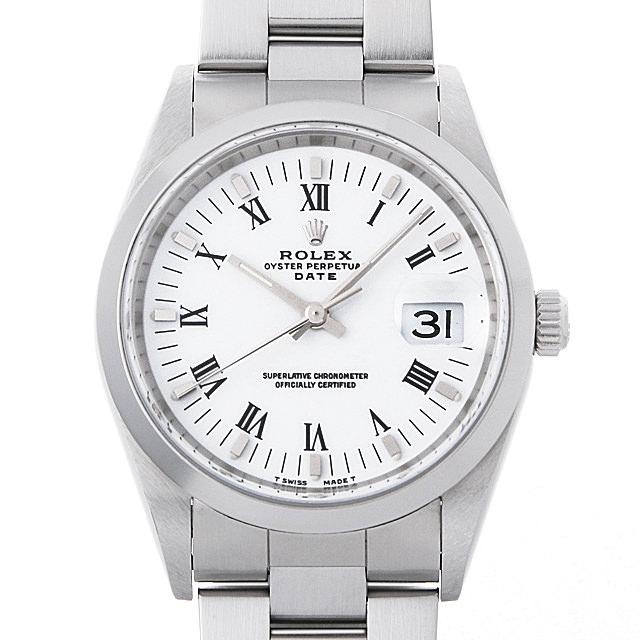 ロレックス オイスターパーペチュアル デイト 15200 ホワイト/ローマ A番 メンズ(001HROAU0233)【中古】【腕時計】【送料無料】