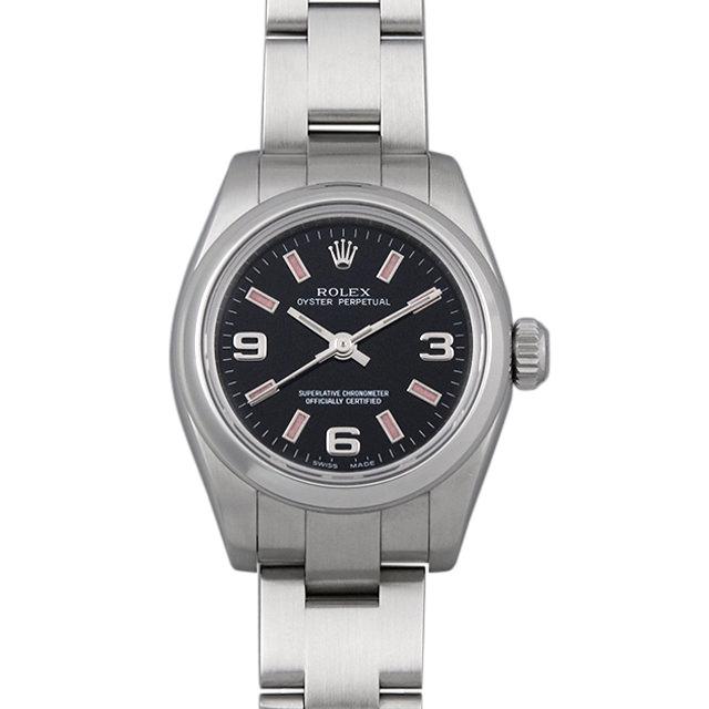 【48回払いまで無金利】ロレックス オイスターパーペチュアル 176200 ブラック/369ピンクバー Z番 レディース(006XROAU0972)【中古】【腕時計】【送料無料】