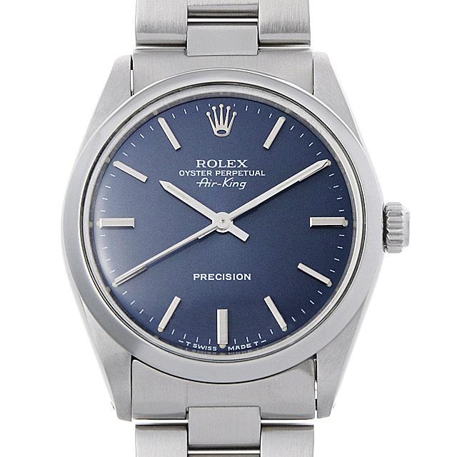 【48回払いまで無金利】ロレックス オイスターパーペチュアル エアキング 5500 ブルー/バー R番 メンズ(007UROAA0113)【アンティーク】【腕時計】【送料無料】