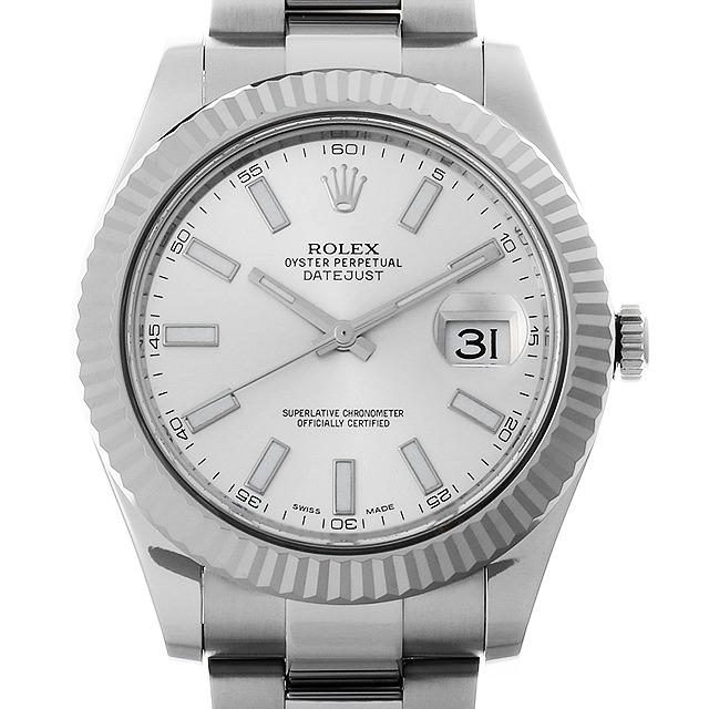 ロレックス デイトジャストII 116334 ランダムシリアル シルバー メンズ(007UROAU0524)【中古】【腕時計】【送料無料】
