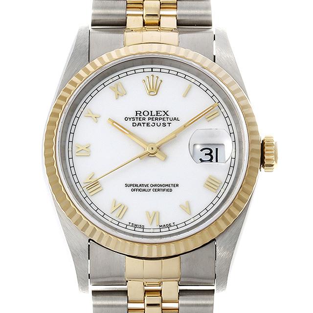 【48回払いまで無金利】ロレックス デイトジャスト 16233 ホワイト/ローマ S番 メンズ(030NROAU0001)【中古】【腕時計】【送料無料】