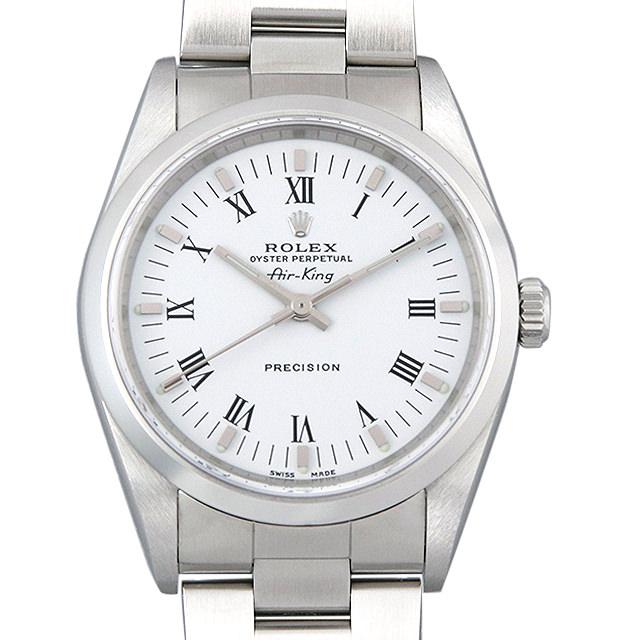 【48回払いまで無金利】ロレックス オイスターパーペチュアル エアキング 14000M ホワイト/ローマ K番 メンズ(001HROAU0238)【中古】【腕時計】【送料無料】