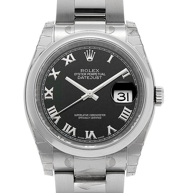 ロレックス デイトジャスト 116200 ブラック/ローマ ランダムシリアル メンズ(001JROAU0003)【中古】【腕時計】【送料無料】