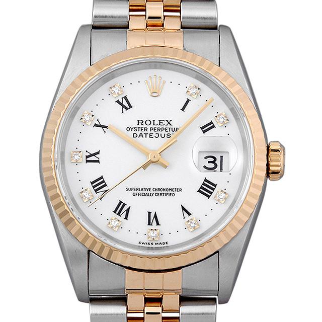 ロレックス デイトジャスト 10Pダイヤ 16233G ホワイト/ローマ T番 メンズ(0BCCROAU0063)【中古】【腕時計】【送料無料】