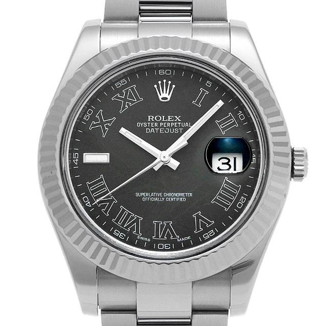 【48回払いまで無金利】ロレックス デイトジャストII 116334 ブラック/ローマ ランダムシリアル メンズ(0M0RROAU0001)【中古】【腕時計】【送料無料】