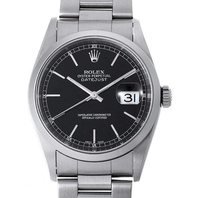 ロレックス デイトジャスト 16200 ブラック/バー Y番 メンズ(001HROAU0248)【中古】【腕時計】【送料無料】