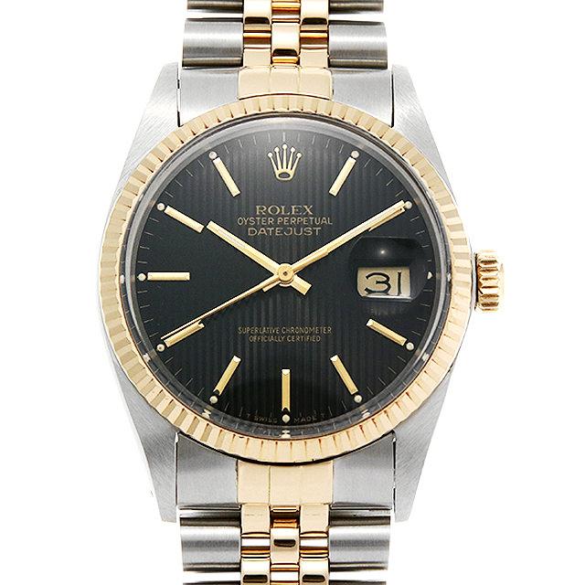ロレックス デイトジャスト 16013 ブラックタペストリー/バー 90番 メンズ(001HROAU0250)【中古】【腕時計】【送料無料】