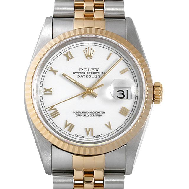 【48回払いまで無金利】ロレックス デイトジャスト 16233 ホワイト/ローマ W番 メンズ(006XROAU1009)【中古】【腕時計】【送料無料】