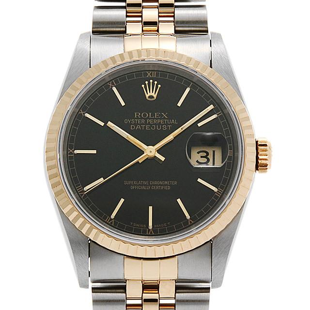 【48回払いまで無金利】ロレックス デイトジャスト 16233 ブラック/バー T番 メンズ(006XROAU1038)【中古】【腕時計】【送料無料】