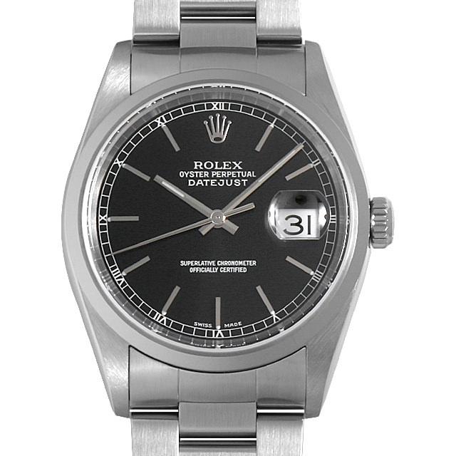 ロレックス デイトジャスト 16200 ブラック/バー Y番 メンズ(007UROAU0568)【中古】【腕時計】【送料無料】
