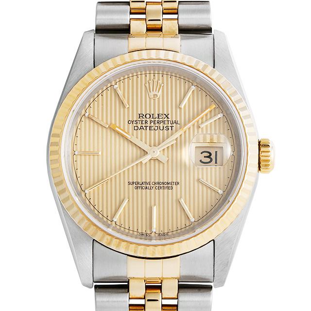 ロレックス デイトジャスト 10Pダイヤ 16233G ブルーグラデーション Y番 メンズ(007UROAU0587)【中古】【腕時計】【送料無料】