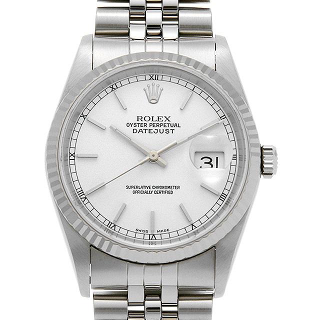 【48回払いまで無金利】ロレックス デイトジャスト 16234 ホワイト/バー K番 メンズ(008WROAU0271)【中古】【腕時計】【送料無料】