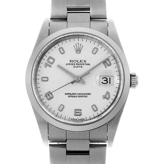 【48回払いまで無金利】ロレックス オイスターパーペチュアル デイト 15200 ホワイト/飛びアラビア Y番 メンズ(008WROAU0272)【中古】【腕時計】【送料無料】
