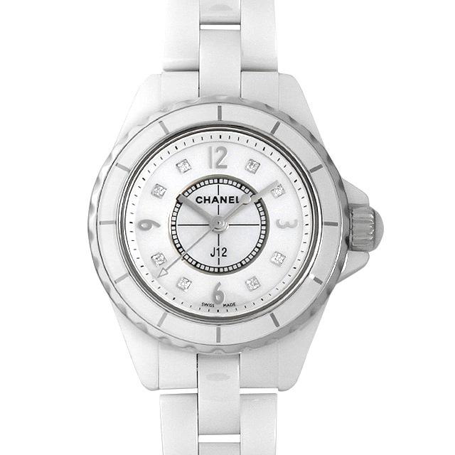シャネル J12 白セラミック 8Pダイヤ H2570 レディース(0A89CHAU0007)【中古】【腕時計】【送料無料】