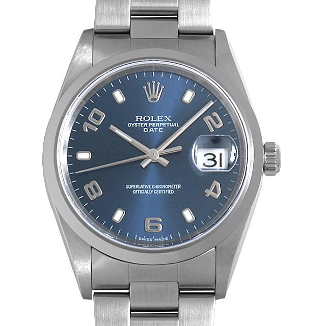 ロレックス オイスターパーペチュアル デイト 15200 ブルー/飛びアラビア P番 メンズ(0A89ROAU0117)【中古】【腕時計】【送料無料】