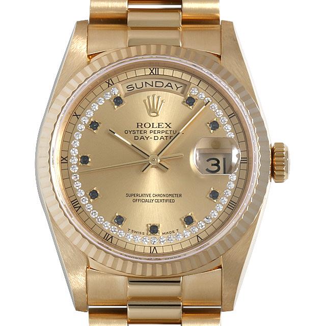 ロレックス デイデイト サークルダイヤ 10Pエメラルド 18238LS W番 メンズ(0BCCROAU0059)【中古】【腕時計】【送料無料】