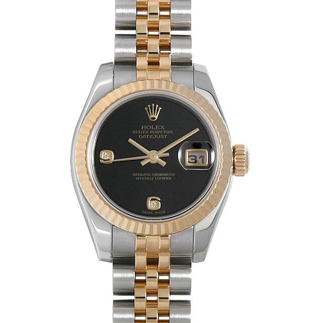 ロレックス デイトジャスト 2Pダイヤ 179173 2BR オニキス F番 レディース(001HROAU0272)【中古】【腕時計】【送料無料】