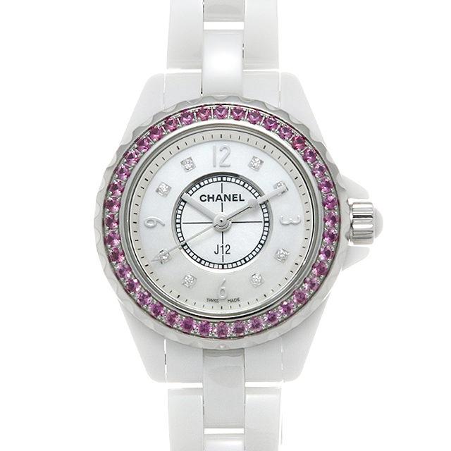 【48回払いまで無金利】シャネル J12 白セラミック 8Pダイヤ ピンクサファイアベゼル H3243 レディース(007UCHAU0050)【中古】【腕時計】【送料無料】