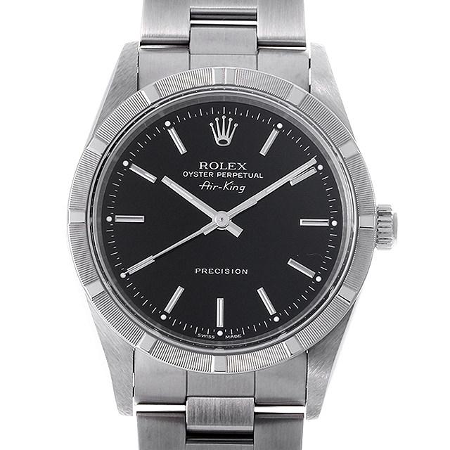 ロレックス オイスターパーペチュアル エアキング 14010 ブラック U番 メンズ(0A89ROAU0118)【中古】【腕時計】【送料無料】