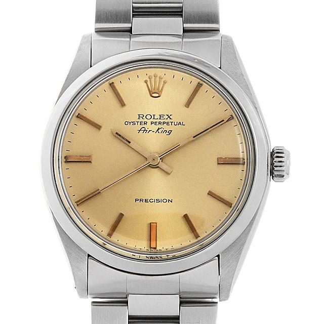 【48回払いまで無金利】ロレックス オイスターパーペチュアル エアキング 5500 シャンパン/バー 72番 メンズ(007UROAA0129)【アンティーク】【腕時計】【送料無料】