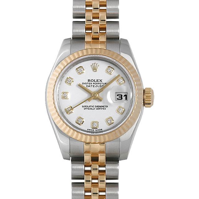 【48回払いまで無金利】ロレックス デイトジャスト 10Pダイヤ 179173G ホワイト ランダムシリアル レディース(007UROAU0611)【中古】【腕時計】【送料無料】