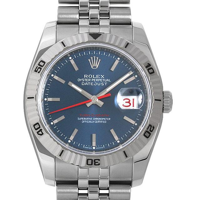 【48回払いまで無金利】ロレックス デイトジャスト ターノグラフ 116264 ブルー/5列ブレス Z番 メンズ(007UROAU0635)【中古】【腕時計】【送料無料】