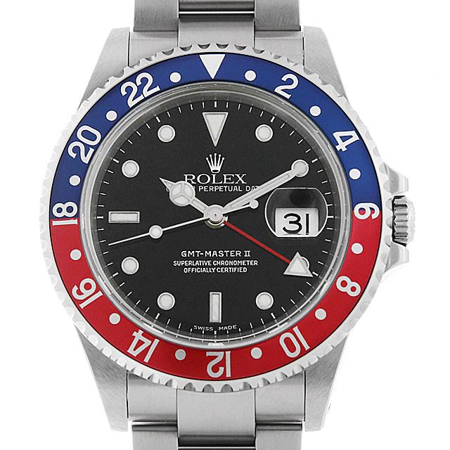 ロレックス GMTマスターII 赤青ベゼル 16710 P番 メンズ(008WROAU0293)【中古】【腕時計】【送料無料】