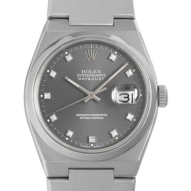 【48回払いまで無金利】ロレックス オイスタークォーツ デイトジャスト 10Pダイヤ 17000G グレー R番 メンズ(0MUCROAU0002)【中古】【腕時計】【送料無料】