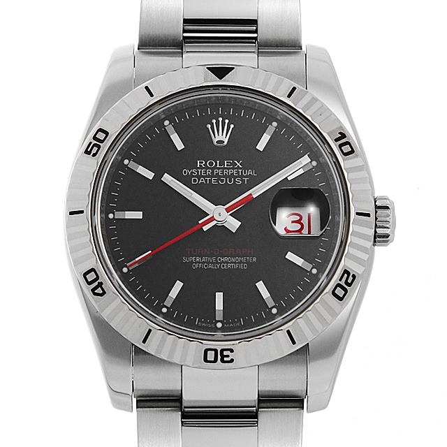 ロレックス デイトジャスト ターノグラフ 116264 ブラック/3列ブレス D番 メンズ(009VROAU0290)【中古】【腕時計】【送料無料】
